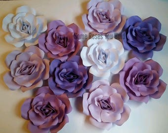 Purple White Paper Flower Backdrop,10pc Paper Flowers Set,Paper Flowers Wall Decor,Baby Shower Decoration,Paper Roses,Party,Nursery Wall Art