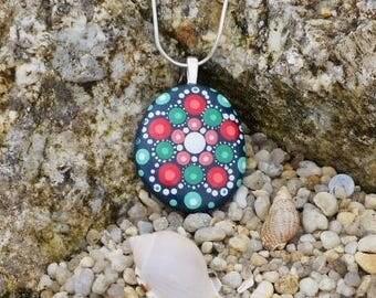 Hand painted stone Mandala pendant