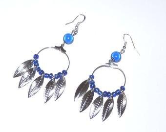 Earrings ' earrings Silver 925 blue hoop dream catcher boho