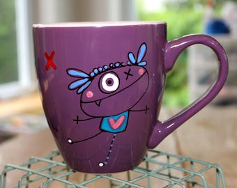 Large Cup, coffee, morning, mug, Plum, playful characters, the creepy hand painted, unique, unique gift