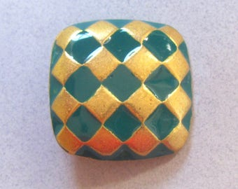 Gold And Green Metal And Enamel Diamond Pattern Buttons