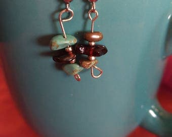 Turquoise and Baltic Amber and Silver Czech Glass Drop Earrings