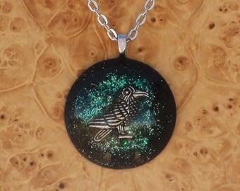 Dark Turquoise Clever Raven Third Eye Pineal Chakra-Tuning Blue Orgone 30mm Pendant Necklace 72 energy harmonizing crystals Quartz Moldavite