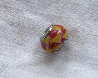 Pandora Murano Glass Bead Orange Yellow White Swirl.