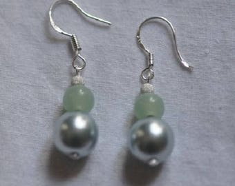 925 Silver glass and Pearl Earrings