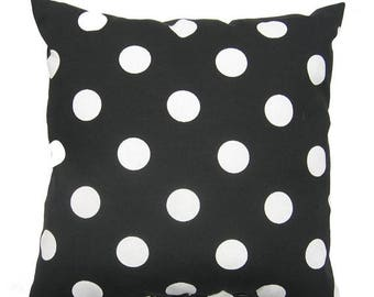 SALE Black White Pillow, 20x20 inch, Indoor / Outdoor Decorative Pillow Cover, Black Pillow, Polka Dot Pillow, Polka Dot Black, Deck Patio P
