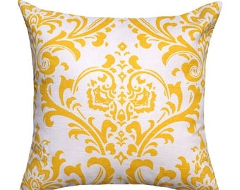 SALE 14 Sizes Available Throw Pillow Cover, Decorative Pillow, Yellow Pillow, Damask Pillow, Yellow Damask Pillow, Traditions Yellow Throw P