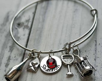 Wine Personalized Hand Stamped Adjustable Wire Bangle Bracelet