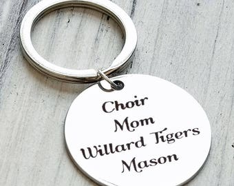 Choir Mom Personalized Key Chain - Engraved