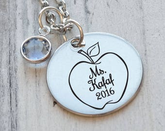 Apple for the Teacher Personalized Engraved Necklace
