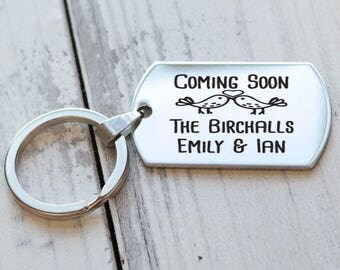 Coming Soon Engagement Personalized Key Chain - Engraved