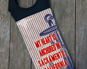 """Wine Tote, """"My heart is anchored in YOUR CITY, STATE """", Blue Anchor, nautical, new boat gift, hostess gift, wine lover, insulated wine bag"""