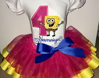 Custom Embroidered Spongebob Squarepants Shirt and Tutu Outfit