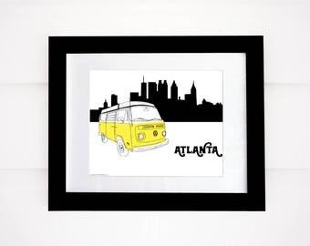 VW Bus Art, Atlanta Art! Volkswagen, VW Van, City Skyline