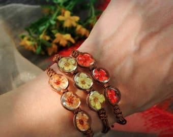 bracelet,dry flower bracelet,real flower bracelet,girl's bracelet,