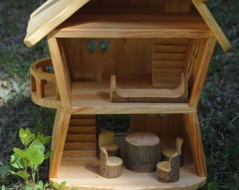 Forest wooden waldorf house - wood doll house - wooden doll house - fairy house - gnome house - handmade doll house
