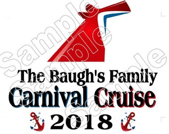 Personalized Carnival Cruise 2018 Iron On Shirt Transfer