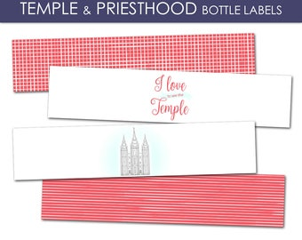 Temple and Priesthood Preparation Bottle Labels - LDS Primary 2018 PRINTABLE Water Decorations Decor Annual Presentation Meeting Girl Boy