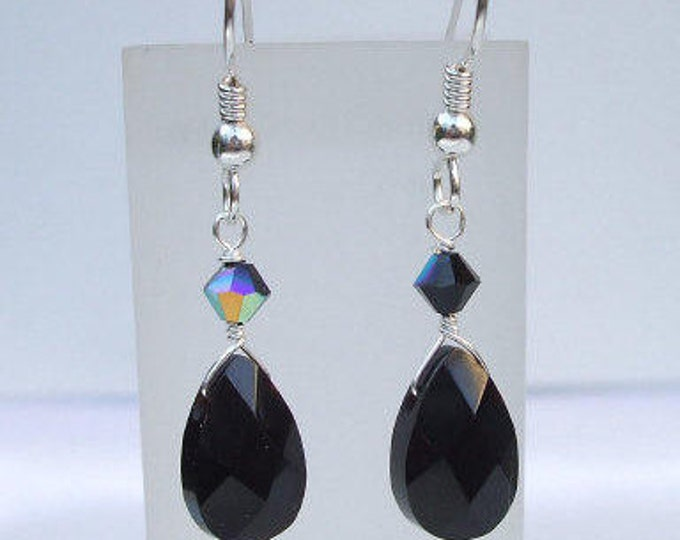 Black Onyx teardrop earrings Sterling Silver hook leverback or stud earring - February Birthstone jewellery gift