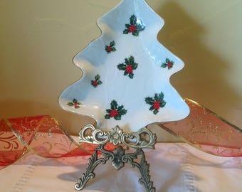 Lefton Christmas Tree Candy Dish, Hand Painted Christmas China