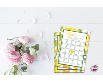 Bridal Bingo - Bridal Shower Game - Lemon - INSTANT DOWNLOAD