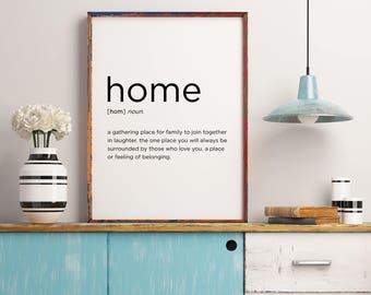 Home Definition Printable Decor Wedding Gift Living Room Family Quote