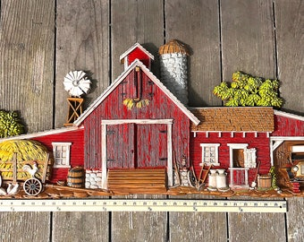 Burwood Farm Wall Hanging Relief Barn Scene Rustic Wall Decor Country Wall Plaque 587 Oversize 1974
