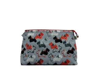 Knitting Project Bag, Scottie Love in Grey - Large, Crochet Bag, Cross Stitch, Zippered Bag, Dog Project Bag