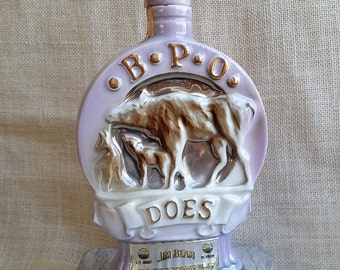 Vintage Whiskey Decanter 1971 BPO DOES 50th Anniversary Ceramic Regal China Jim Beam Collectible Liquor Bottle