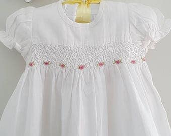 Hand Smocked Baby dress in white with hand embroidered roses - Size 3-6 months