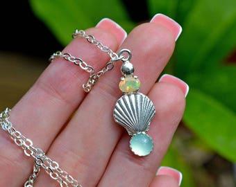 Seashell necklace, shell necklace, opal necklace, chalcedony necklace, scallop shell necklace, mermaid necklace, beach necklace, ocean