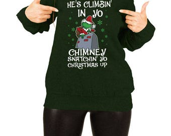Funny Christmas Gift Ideas For Her Grinch Sweater Xmas Jumper Holiday Pullover Merry Christmas Off The Shoulder Slouchy Sweatshirt TEP-529