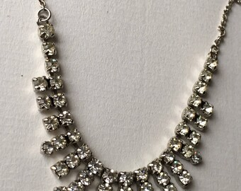 Vintage 1960s Art Deco Style  Simulated White Zircon Glass/Clear Rhinestones Bib Necklace - Silver Tone Chain Costume Jewelry