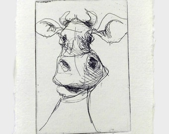 happy cow - original handpulled etching - black and white - illustration - potrait