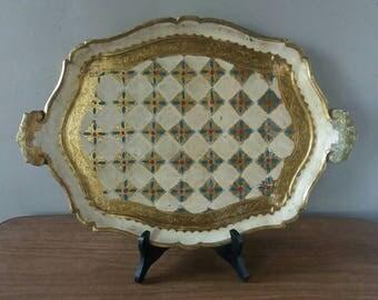 Florentine tray, tray Italy, kitsch tray, boho chic decor, presenter, Christmas gift, golden tray, shabby chic decor