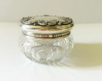 Crystal Powder Jar, Dresser Jar' Vanity Jar, Pin Dish,  Hall Mark Sterling Silver Lid, Floral Swags
