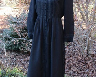 BOHO BLACK DRESS, Vintage 90s Midi, Rayon Button-Down, pintuck bodice, crocheted lace, long sleeves, Stevie Nicks Gypsy Witch, Gothic Hippie