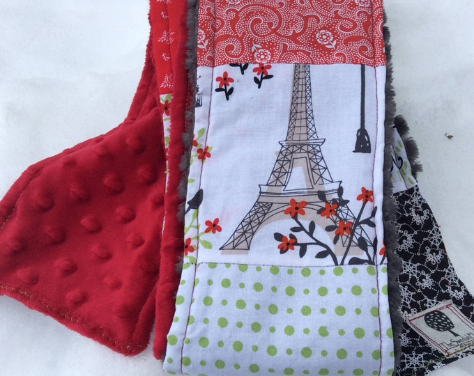 "Patchwork Scarf- ""Paris in the Park"" -Womens Scarf, Denim, Corduroy, Fleece, Upcycle, Made in Ireland, Winter Accessories,The Swedish Flicka"