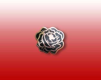 Desert Rose Enamel Lapel Pin (black and copper hard enamel pin lapel pin badge jewelry rose pin)