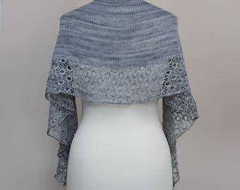 handknit gray shawl, merino wool shawl, crescent wool wrap, lace elegant scarf