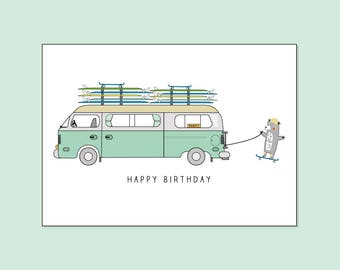 VW Surf Camper Van Happy Birthday - Greeting Card by Katie Cheetham