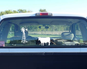 windmill decal, vinyl cow decal, cow sticker, farm window sticker, farm decal, cattle decal, cattle sticker, cow window sticker, farmer
