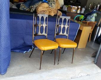 Vintage 1960u0027s Pair Chromcraft Dinette Chairs Smoked Lucite Backrest Mid  Century Modern Orange Vinyl Seats Spage