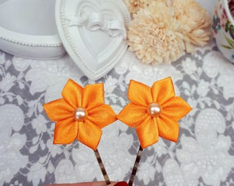 2 ribbon flower bobby pins, orange hair clips, satin ribbon hair accessories, bridal hair pins, orange floral hair jewelry, wedding pins
