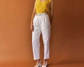 90s White Trousers, Vintage White Pants, Minimal Trousers, High Waist Pants, Tapered Leg Pants, Cotton Pants, Womens Summer Pants Size 2
