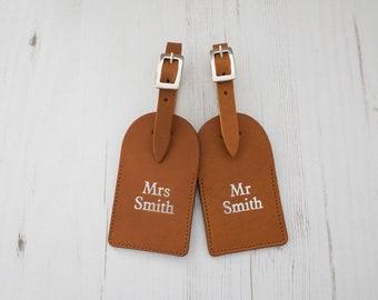 Leather Luggage Tags - Mr & Mrs Custom Last Name monogram - Tan