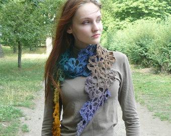 Crochet scarf Knitted neckwarmer Lariat scarf colorful neckwarmer Knitted scarf Eco wool crochet wrap knit gift ideas