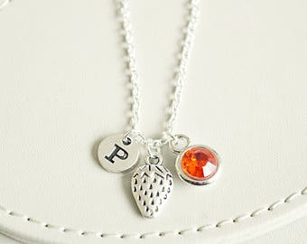 Strawberry Necklace, Strawberry charm, Fruit Necklace, Fruit gift, Food Jewelry, Berry, strawberry jewelry,Personalized, Jam, cute,sugar