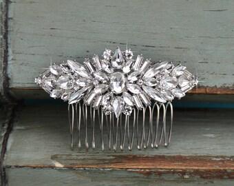 Small Crystal Wedding Hair Comb, Rhinestone Bridal Comb, Silver Wedding Hair Comb, Headpiece, Vintage Bridal Side Comb CO-026