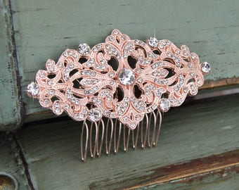 Rose Gold Hair Comb, Wedding Hair Comb, Bridal Hair Comb, Flower Girl Hair Comb, Crystal Hair Comb, Swarovski, Headpiece, Side Comb, CO-006